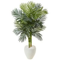 Nearly Natural 4.5-Foot Golden Cane Palm Tree in White Oval Planter