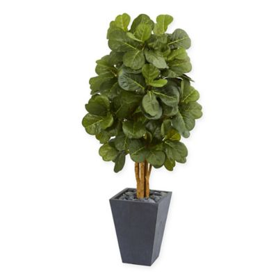Nearly Natural Artificial Fiddle Leaf Tree In Slate Planter