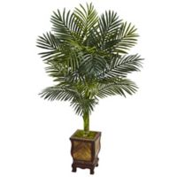 Nearly Natural 4.5-Foot Golden Cane Palm Tree in Slatted Wood Planter