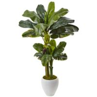 Nearly Natural 5-Foot Double Stalk Banana Tree in White Oval Planter