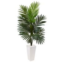 Nearly Natural 4.5-Foot Kentia Palm Tree in White Tower Planter
