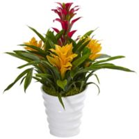 Nearly Natural 17-Inch Bromeliads in White Swirl Vase