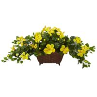 Nearly Natural 17-Inch Hibiscus Arrangement in Embossed Metal Planter