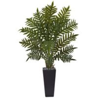 Nearly Natural 4.5-Foot Evergreen Plant in Black Tower Planter