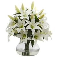 Nearly Natural 16-Inch Lily Arrangement in Glass Vase