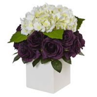 Nearly Natural 13-Inch Hydrangea and Rose Arrangement in White Cube