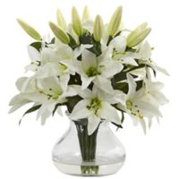 Nearly Natural 13.5-Inch Lily Arrangement in Glass Vase