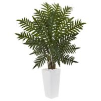 Nearly Natural 4.5-Foot Evergreen Plant in White Tower Planter