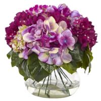 Nearly Natural 11-Inch Mixed Hydrangea Arrangement in Glass Vase