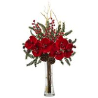 Nearly Natural 19-Inch Mixed Orchid Holiday Arrangement with Vase