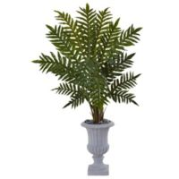 Nearly Natural 4.5-Foot Evergreen Plant in Grey Urn