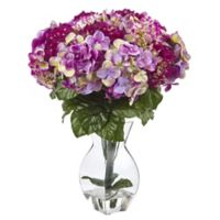 Nearly Natural 20-Inch Mixed Hydrangea Arrangement in Glass Vase