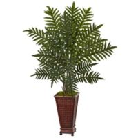 Nearly Natural 4-Foot Evergreen Plant in Wicker-Textured Wood Planter