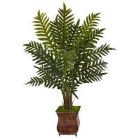 Nearly Natural 4-Foot Evergreen Plant in Brown Metal Planter