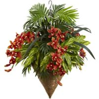 Nearly Natural Artificial Mixed Tropical Cymbidium Hanging Plant in Cone-Shaped Basket