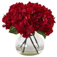 Nearly Natural 8.5-Inch Red Hydrangea Arrangement in Glass Vase