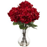 Nearly Natural 18-Inch Red Hydrangea Arrangement in Glass Vase