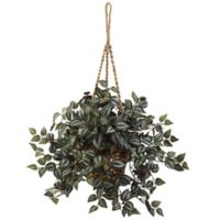 Nearly Natural 20-Inch Artificial Wandering Hanging Plant with Woven Basket