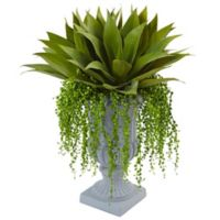 Nearly Natural 27-Inch Agave and Senecio Succulent Arrangement in Grey Urn