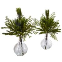 Nearly Natural 18-Inch Mixed Pine Branches in Glass Vases (Set of 2)