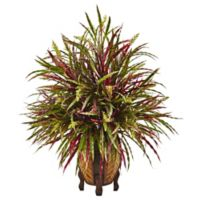 Nearly Natural 30-Inch Autumn Grass Arrangement in Slatted Wood Planter