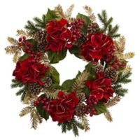Nearly Natural 24-Inch Red Hydrangea and Pine Wreath