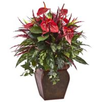 Nearly Natural 28-Inch Anthurium and Mixed Plant Arrangement in Floral Embossed Planter