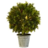 Nearly Natural 18-Inch Battery-Operated LED Lighted Pine Ball Topiary in Rustic Iron Planter