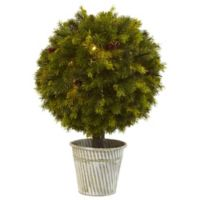 Nearly Natural 23-Inch Battery-Operated LED Lighted Pine Ball Topiary in Rustic Iron Planter