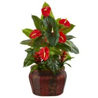 Nearly Natural 45-Inch Mixed Anthuriums and Bromeliads in Embossed Panel Planter