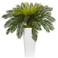 Nearly Natural 23-Inch Cycas in White Tower Planter
