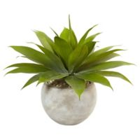 Nearly Natural 24-Inch Agave in Sand Textured Bowl