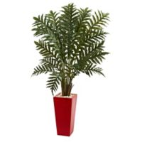 Nearly Natural 4.5-Foot Evergreen Plant in Red Tower Planter