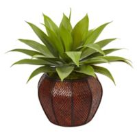 Nearly Natural 26-Inch Agave in Basketweave Wood Planter