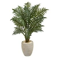 Nearly Natural 4-Foot Evergreen Plant in Sand Textured Oval Planter