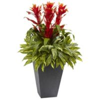 Nearly Natural 39-Inch Tropical Bromeliad with Slate Planter
