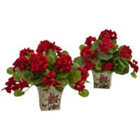 Nearly Natural 11-Inch Geranium Plant in Decoupage Planter (Set of 2)