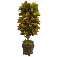 Nearly Natural 5.5-Foot Real Touch Croton Plant in Antique Asian Style Planter