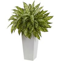 Nearly Natural 28-Inch Aglaonema in White Tower Planter