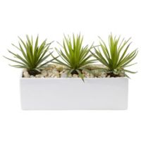 Nearly Natural 8-Inch Mini Spiked Agaves in White Rectangular Planter