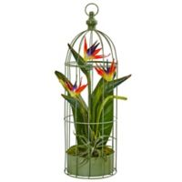 Nearly Natural 24-Inch Bird of Paradise Arrangement in Metal Bird Cage