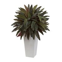 Nearly Natural 30-Inch Peacock Plant in White Tower Planter