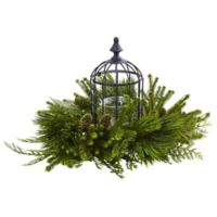 Nearly Natural 12.5-Inch Mixed Pine Bird Cage Candle Holder