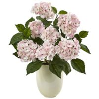 Nearly Natural 22-Inch Hydrangea in White Vase Planter