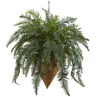 Nearly Natural 33-Inch Giant River Fern in Hanging Cone Basket