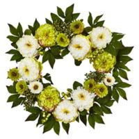 Nearly Natural 24-Inch White/Green Peony and Mum Wreath