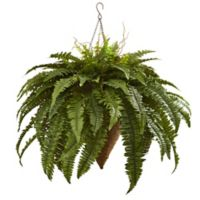 Nearly Natural 26-Inch Giant Boston Fern Hanging Cone Basket