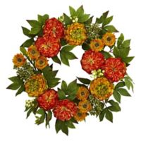 Nearly Natural 24-Inch Red/Orange Peony and Mum Wreath