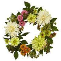 Nearly Natural 22-Inch Mixed Dahlia and Mum Wreath