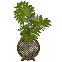 Nearly Natural 34-Inch Selloum Leaf Arrangement in Open Weave Vase